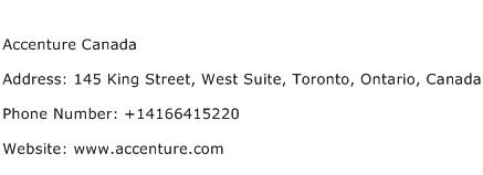 Accenture Canada Address Contact Number