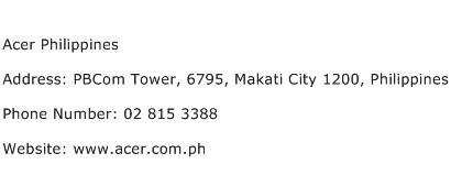 Acer Philippines Address Contact Number