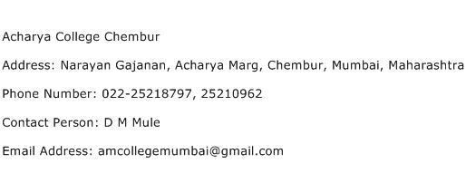 Acharya College Chembur Address Contact Number