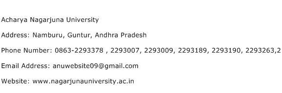 Acharya Nagarjuna University Address Contact Number