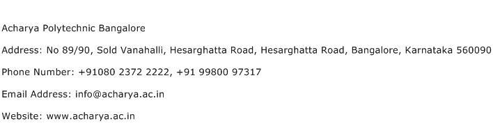 Acharya Polytechnic Bangalore Address Contact Number