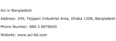 Aci in Bangladesh Address Contact Number
