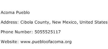 Acoma Pueblo Address Contact Number