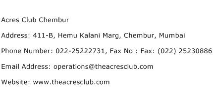 Acres Club Chembur Address Contact Number