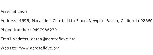 Acres of Love Address Contact Number