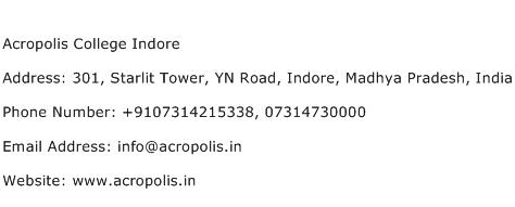 Acropolis College Indore Address Contact Number