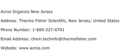 Acros Organics New Jersey Address Contact Number