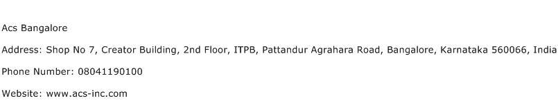 Acs Bangalore Address Contact Number