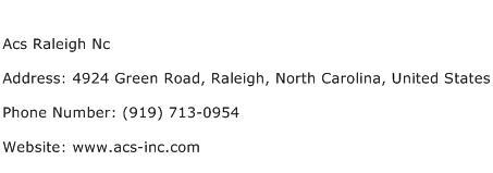 Acs Raleigh Nc Address Contact Number