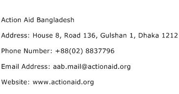 Action Aid Bangladesh Address Contact Number