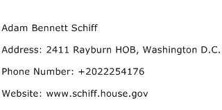 Adam Bennett Schiff Address Contact Number