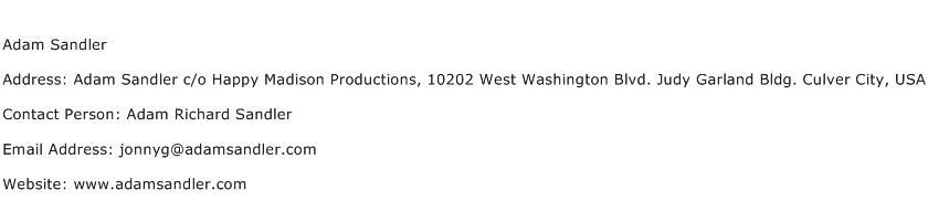 Adam Sandler Address Contact Number