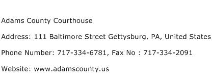 Adams County Courthouse Address Contact Number