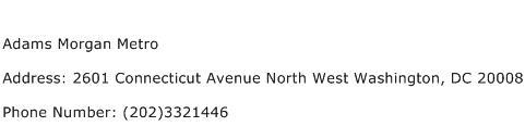 Adams Morgan Metro Address Contact Number