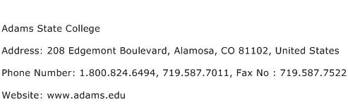 Adams State College Address Contact Number