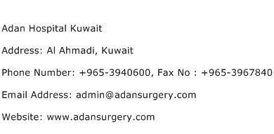 Adan Hospital Kuwait Address Contact Number