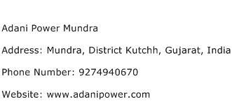 Adani Power Mundra Address Contact Number