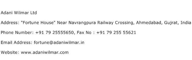Adani Wilmar Ltd Address Contact Number