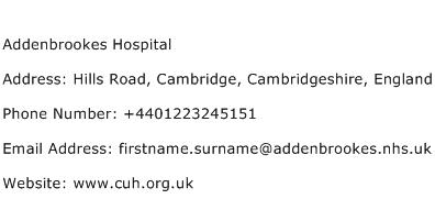 Addenbrookes Hospital Address Contact Number
