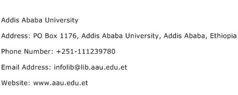 Addis Ababa University Address Contact Number