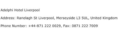 Adelphi Hotel Liverpool Address Contact Number