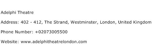 Adelphi Theatre Address Contact Number