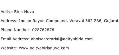 Aditya Birla Nuvo Address Contact Number