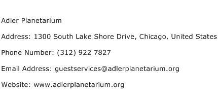 Adler Planetarium Address Contact Number