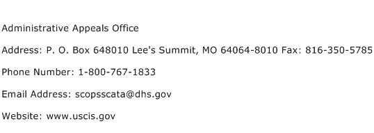Administrative Appeals Office Address Contact Number