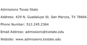 Admissions Texas State Address Contact Number