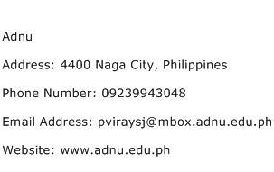 Adnu Address Contact Number