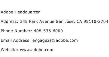 Adobe Headquarter Address Contact Number