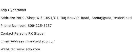 Adp Hyderabad Address Contact Number