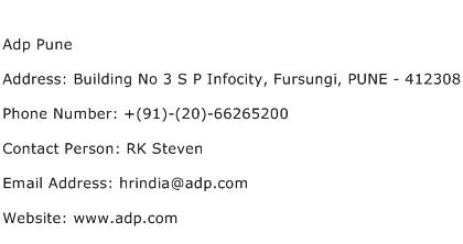 Adp Pune Address Contact Number