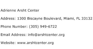 Adrienne Arsht Center Address Contact Number