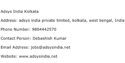 Adsys India Kolkata Address Contact Number