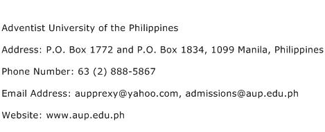 Adventist University of the Philippines Address Contact Number