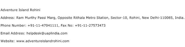 Adventure Island Rohini Address Contact Number