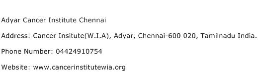 Adyar Cancer Institute Chennai Address Contact Number