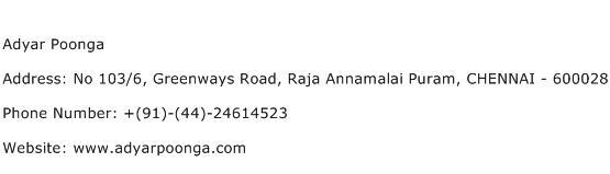 Adyar Poonga Address Contact Number