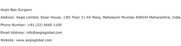 Aegis Bpo Gurgaon Address Contact Number