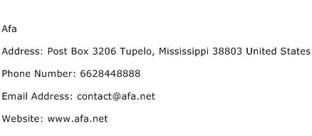 Afa Address Contact Number