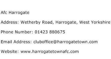 Afc Harrogate Address Contact Number