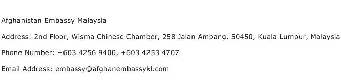 Afghanistan Embassy Malaysia Address Contact Number