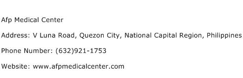 Afp Medical Center Address Contact Number