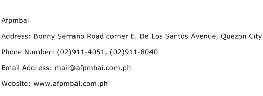 Afpmbai Address Contact Number