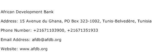 African Development Bank Address Contact Number