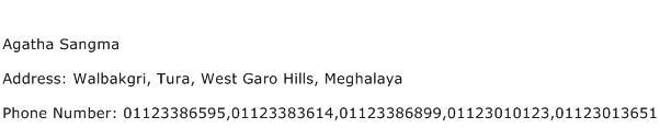 Agatha Sangma Address Contact Number