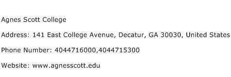 Agnes Scott College Address Contact Number