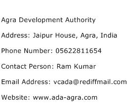 Agra Development Authority Address Contact Number